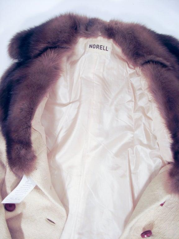 Norman Norell VintageCream Wool Overcoat w/ Fur Collar image 8