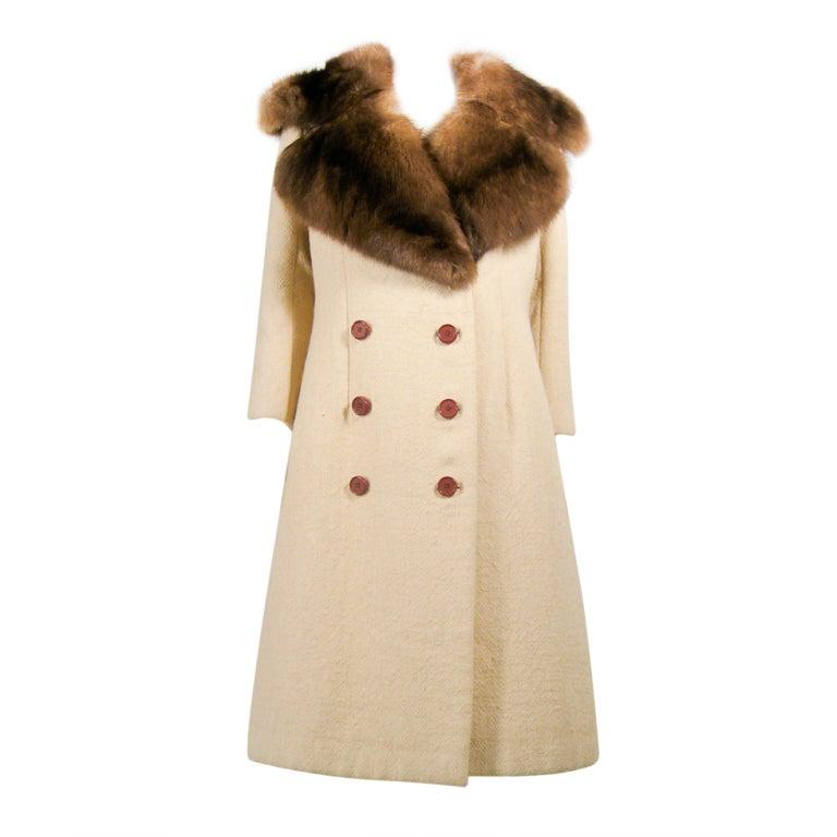 Norman Norell VintageCream Wool Overcoat w/ Fur Collar