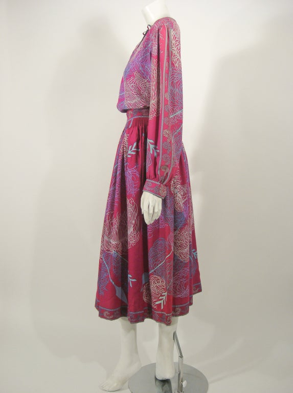 Pink Emilio Pucci Fuschia Feather & Arrow Print Silk Peasant blouse & Wool skirt For Sale