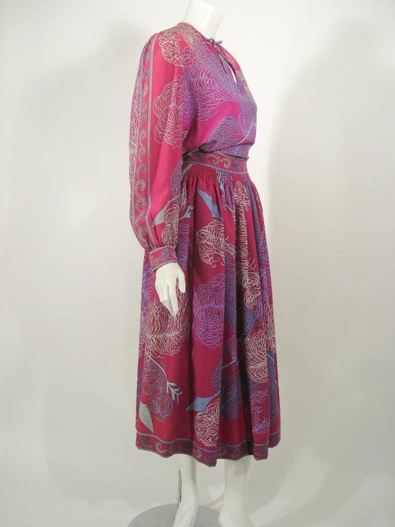 Women's Emilio Pucci Fuschia Feather & Arrow Print Silk Peasant blouse & Wool skirt For Sale