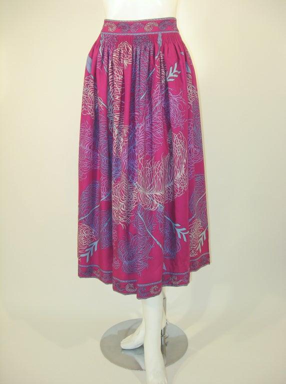 Emilio Pucci Fuschia Feather & Arrow Print Silk Peasant blouse & Wool skirt For Sale 3