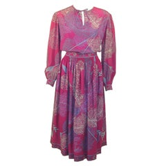 Emilio Pucci Fuschia Feather & Arrow Print Silk Peasant blouse & Wool skirt