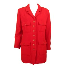 Chanel Red Boucle Jacket w/ Red & Gold Logo Buttons