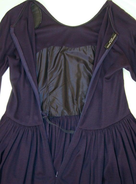 Geoffrey Beene Purple Wool Knit Cowl Neck Drape Dress & Wide Patent Belt 10