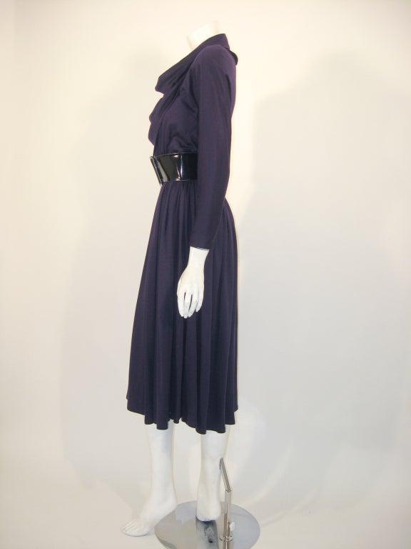 Geoffrey Beene Purple Wool Knit Cowl Neck Drape Dress & Wide Patent Belt 3