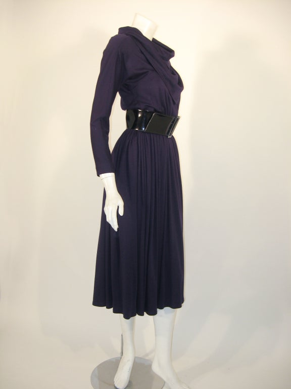 Geoffrey Beene Purple Wool Knit Cowl Neck Drape Dress & Wide Patent Belt 5