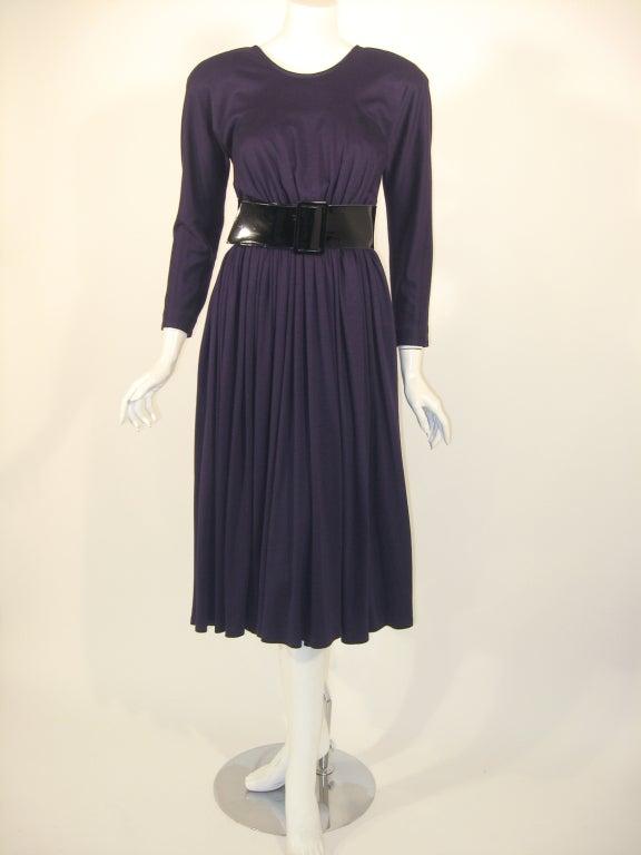 Geoffrey Beene Purple Wool Knit Cowl Neck Drape Dress & Wide Patent Belt 6