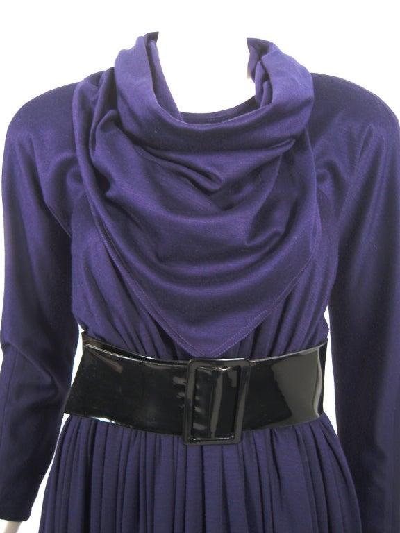 Geoffrey Beene Purple Wool Knit Cowl Neck Drape Dress & Wide Patent Belt 7