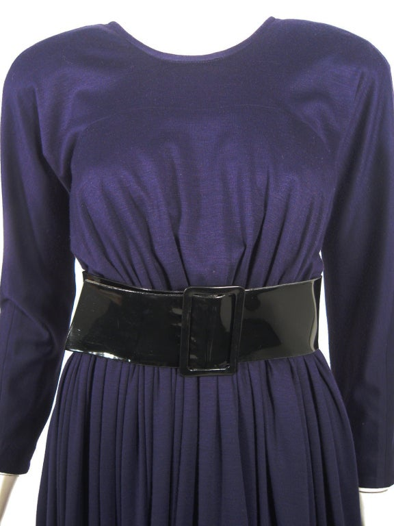 Geoffrey Beene Purple Wool Knit Cowl Neck Drape Dress & Wide Patent Belt 8