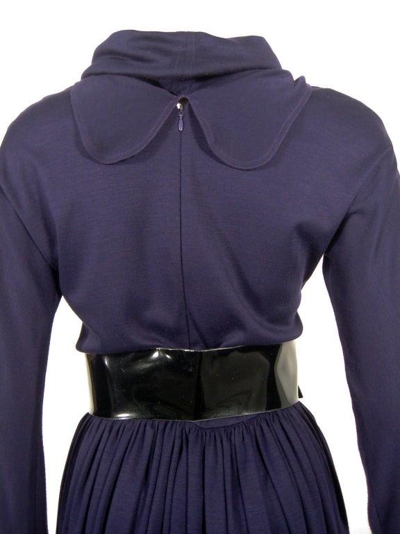 Geoffrey Beene Purple Wool Knit Cowl Neck Drape Dress & Wide Patent Belt 9