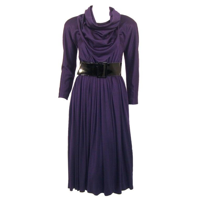 Geoffrey Beene Purple Wool Knit Cowl Neck Drape Dress & Wide Patent Belt 1