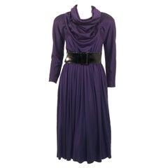 Geoffrey Beene Purple Wool Knit Cowl Neck Drape Dress & Wide Patent Belt