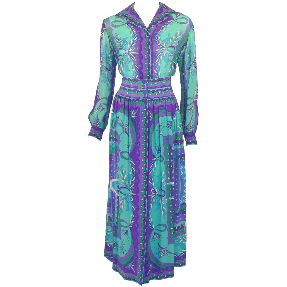 Emilio Pucci 1970s Turquoise & Purple Silk Print Blouse & Skirt Ensemble