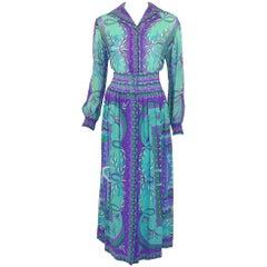 Emilio Pucci 1970s Turquoise & Purple Silk Print Blouse & Skirt Ensemble