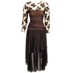 Oscar de la Renta Black Beaded Sequin and Chiffon Dress 10-12