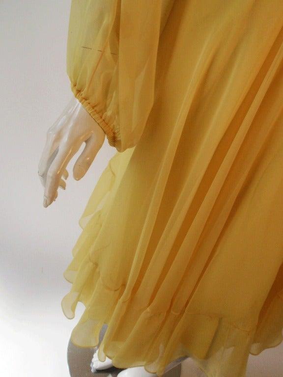 Travilla Yellow Chiffon Cocktail Dress, circa 1970 10