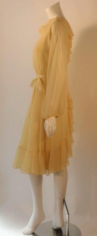 Travilla Yellow Chiffon Cocktail Dress, circa 1970 3