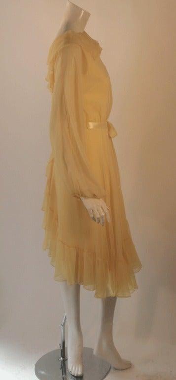 Travilla Yellow Chiffon Cocktail Dress, circa 1970 4