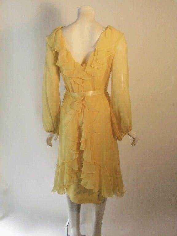 Travilla Yellow Chiffon Cocktail Dress, circa 1970 5