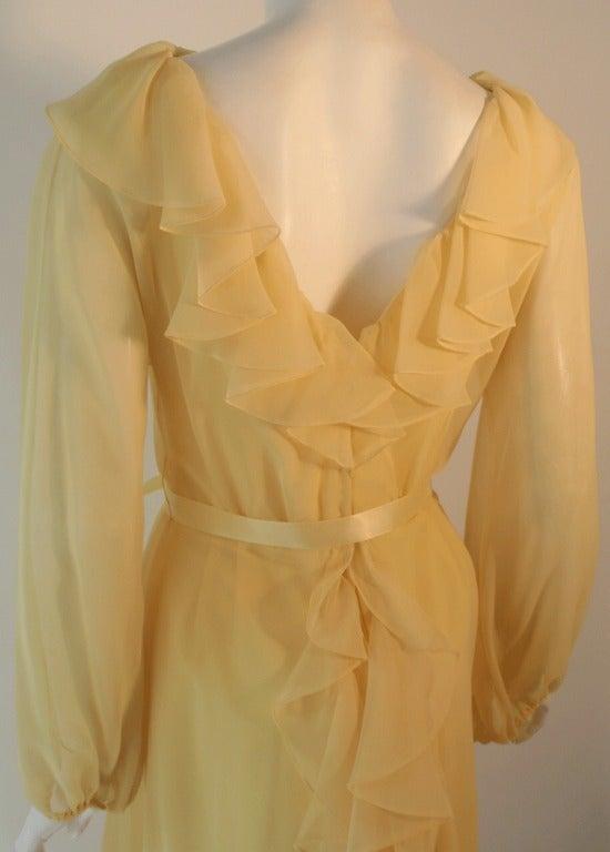 Travilla Yellow Chiffon Cocktail Dress, circa 1970 6