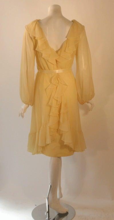 Travilla Yellow Chiffon Cocktail Dress, circa 1970 7