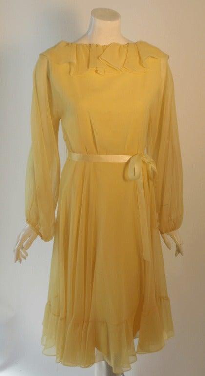 Travilla Yellow Chiffon Cocktail Dress, circa 1970 8