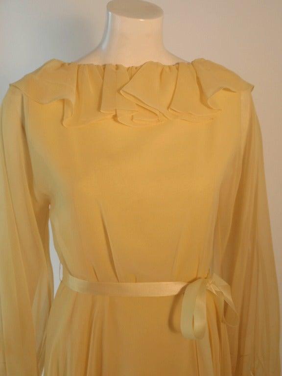 Travilla Yellow Chiffon Cocktail Dress, circa 1970 9