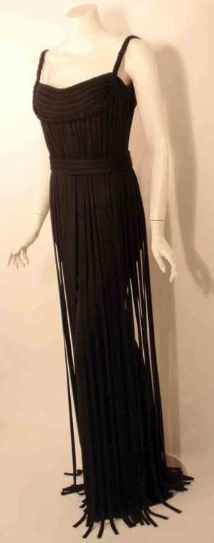 "Elizabeth Mason Couture Black ""No Strings Attached"" Gown size 4 4"