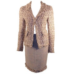 Chanel 2pc Boucle Skirt Set & Blazer