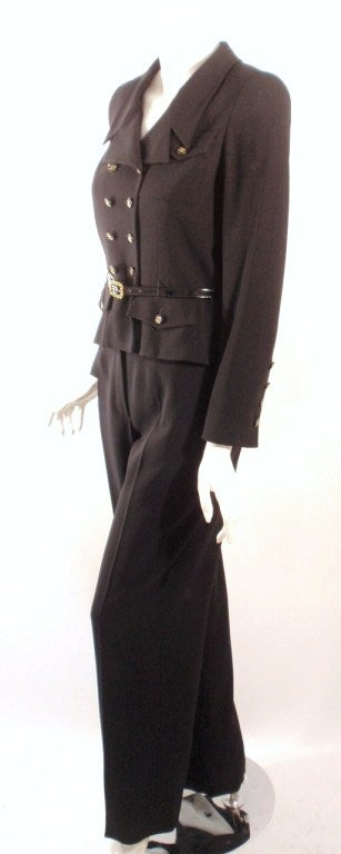 Chanel 2pc Black Crepe Pant Suit with Double Breasted Blazer 2