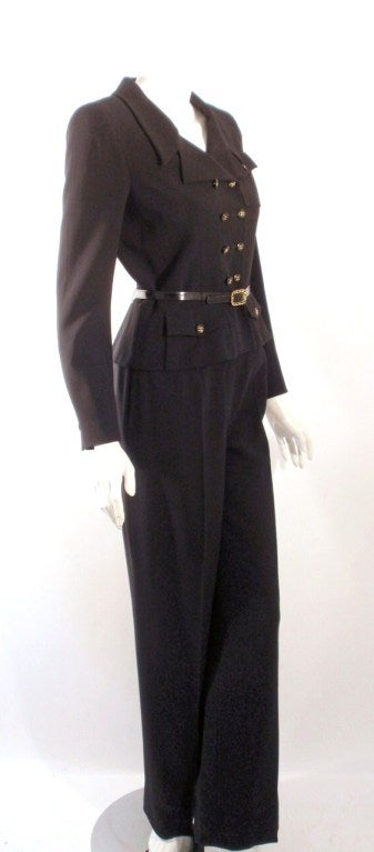 Chanel 2pc Black Crepe Pant Suit with Double Breasted Blazer 4