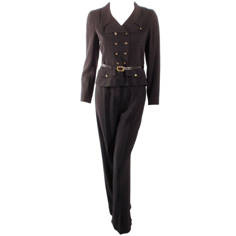 Chanel 2pc Black Crepe Pant Suit with Double Breasted Blazer 1