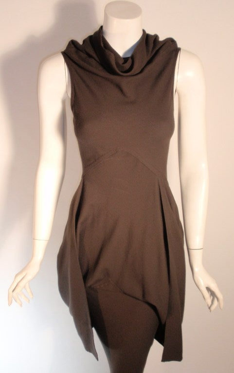 2004 Rick Owens Queen Burnt Umber Drape Neck Fitted Sleeveless Gown 4-6 2
