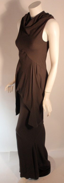 2004 Rick Owens Queen Burnt Umber Drape Neck Fitted Sleeveless Gown 4-6 3