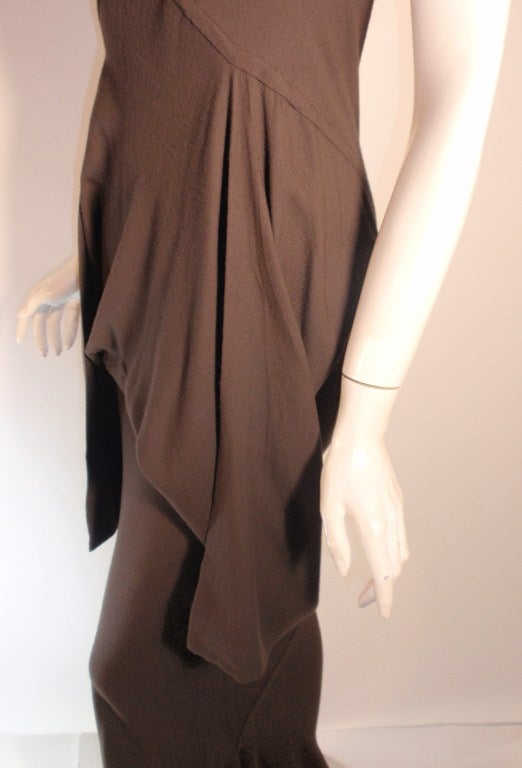2004 Rick Owens Queen Burnt Umber Drape Neck Fitted Sleeveless Gown 4-6 4