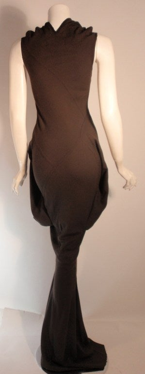 2004 Rick Owens Queen Burnt Umber Drape Neck Fitted Sleeveless Gown 4-6 5