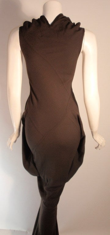 2004 Rick Owens Queen Burnt Umber Drape Neck Fitted Sleeveless Gown 4-6 6