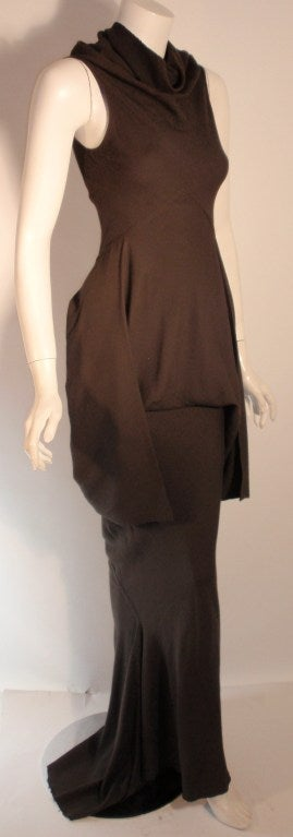 2004 Rick Owens Queen Burnt Umber Drape Neck Fitted Sleeveless Gown 4-6 7
