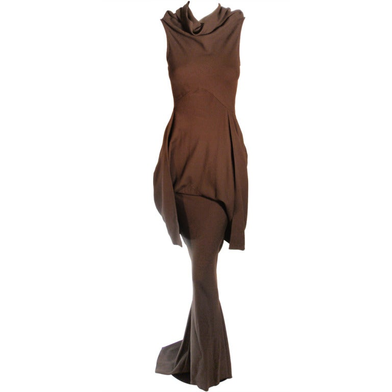2004 Rick Owens Queen Burnt Umber Drape Neck Fitted Sleeveless Gown 4-6 1