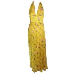 Valentino Yellow with pink lotus flower print Silk chiffon Halter Gown 6