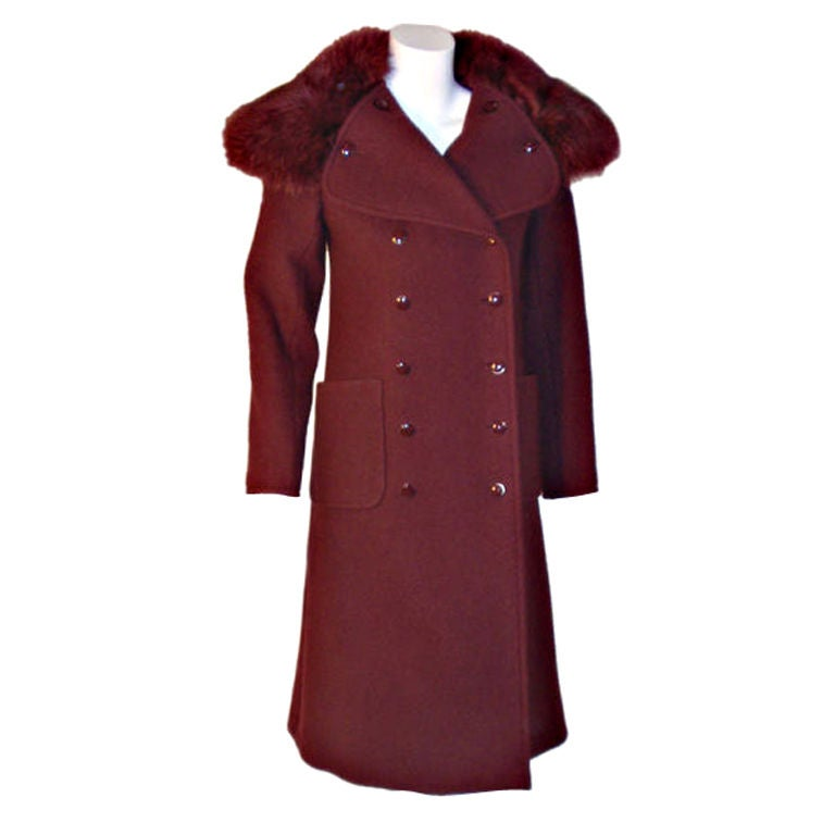Christian Dior Haute Couture 3pc Burgundy Wool Coat Set, Betsy Bloomingdale 1971