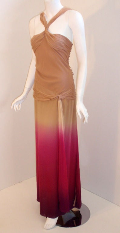 Brown Christian Dior Nude, Pink, & Purple Ombre Chiffon Halter Evening Gown, 1990's For Sale