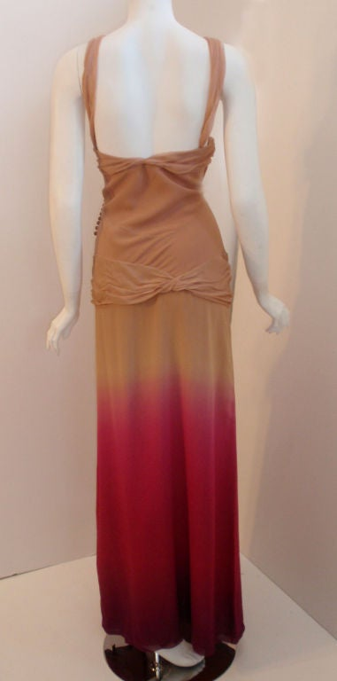 Women's Christian Dior Nude, Pink, & Purple Ombre Chiffon Halter Evening Gown, 1990's For Sale