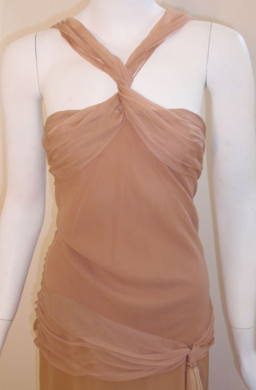 Christian Dior Nude, Pink, & Purple Ombre Chiffon Halter Evening Gown, 1990's For Sale 1