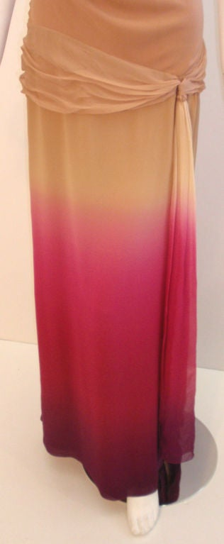 Christian Dior Nude, Pink, & Purple Ombre Chiffon Halter Evening Gown, 1990's For Sale 2