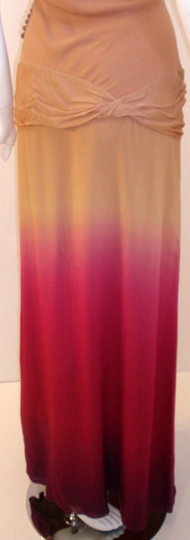 Christian Dior Nude, Pink, & Purple Ombre Chiffon Halter Evening Gown, 1990's For Sale 4