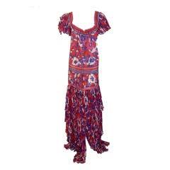 Diane Frez Long Floral Dress, Circa 1980