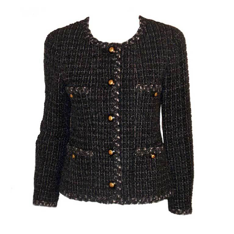 Chanel Classic Black, Gray, and White Tweed Jacket, Circa 1990 For Sale
