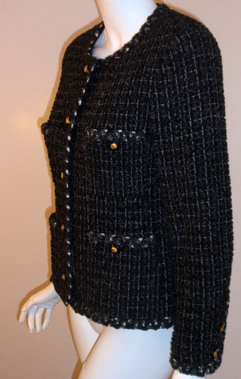 Chanel Classic Black, Gray, and White Tweed Jacket, Circa 1990 For Sale 1