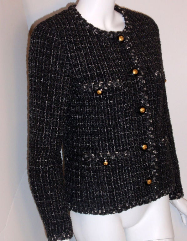 Chanel Classic Black, Gray, and White Tweed Jacket, Circa 1990 For Sale 2